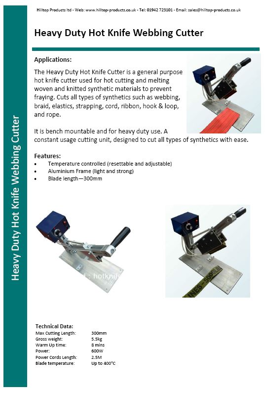 Heavy Duty Hot Knife Cutter Spec