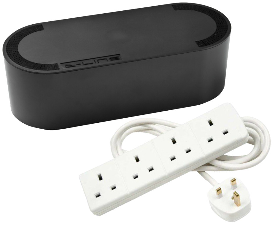Cable Tidy Unit Small Black with 4 Way Socket Extension