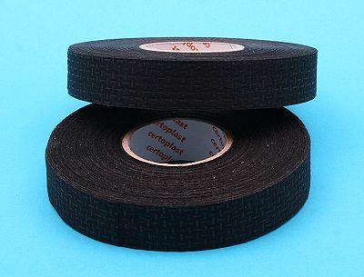 Cloth / Fleece Linen Loom Harness Tape - 19mm Black Self Adhesive