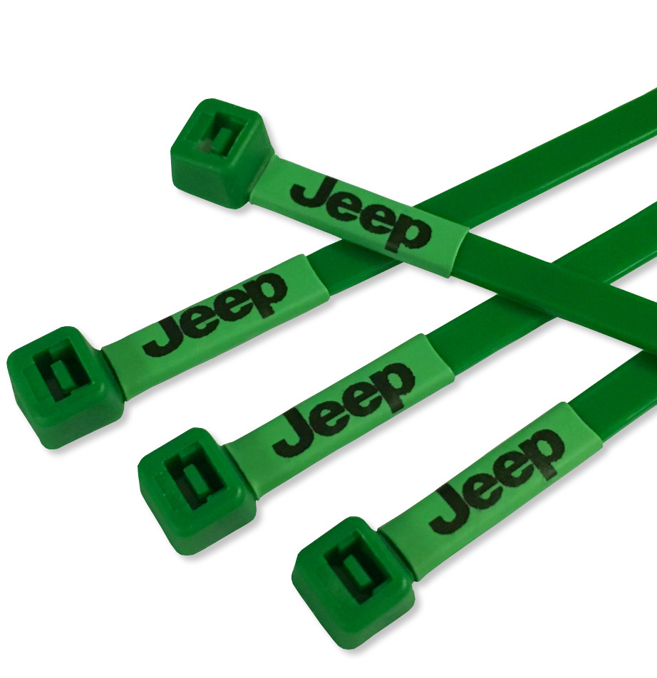 Jeep Printed Cable Ties in Green