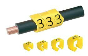 Open Style Clip On E Type Cable Marker size 20 Black on Yellow