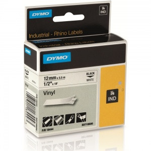 DYMO Rhino Vinyl Tape 12mm WHITE with Black Lettering 18444