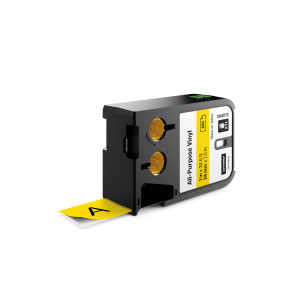 "DYMO XTL All Purpose Vinyl Labels - size 24mm - 1868773 (1"") Black on Yellow"
