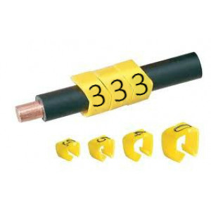 Open Style Clip On E Type Cable Marker size 10 Black on Yellow