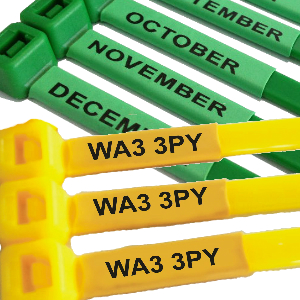 Post Codes and Months Printed Cable Ties