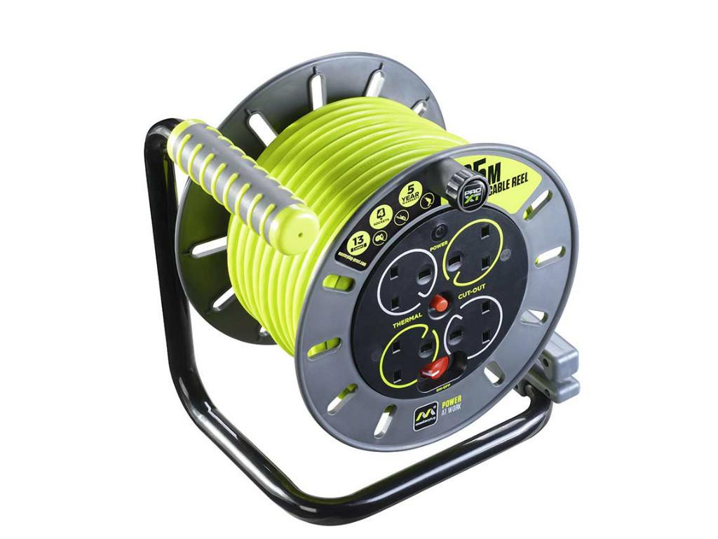 4 SOCKET Masterplug Pro XT Large Open Cable Reel Switch LED 50 Metre