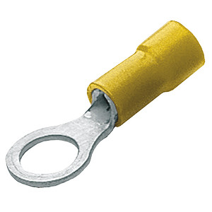 Ring Crimp Terminals Pre-Insulated - Yellow Ring to fit 6mm Stud