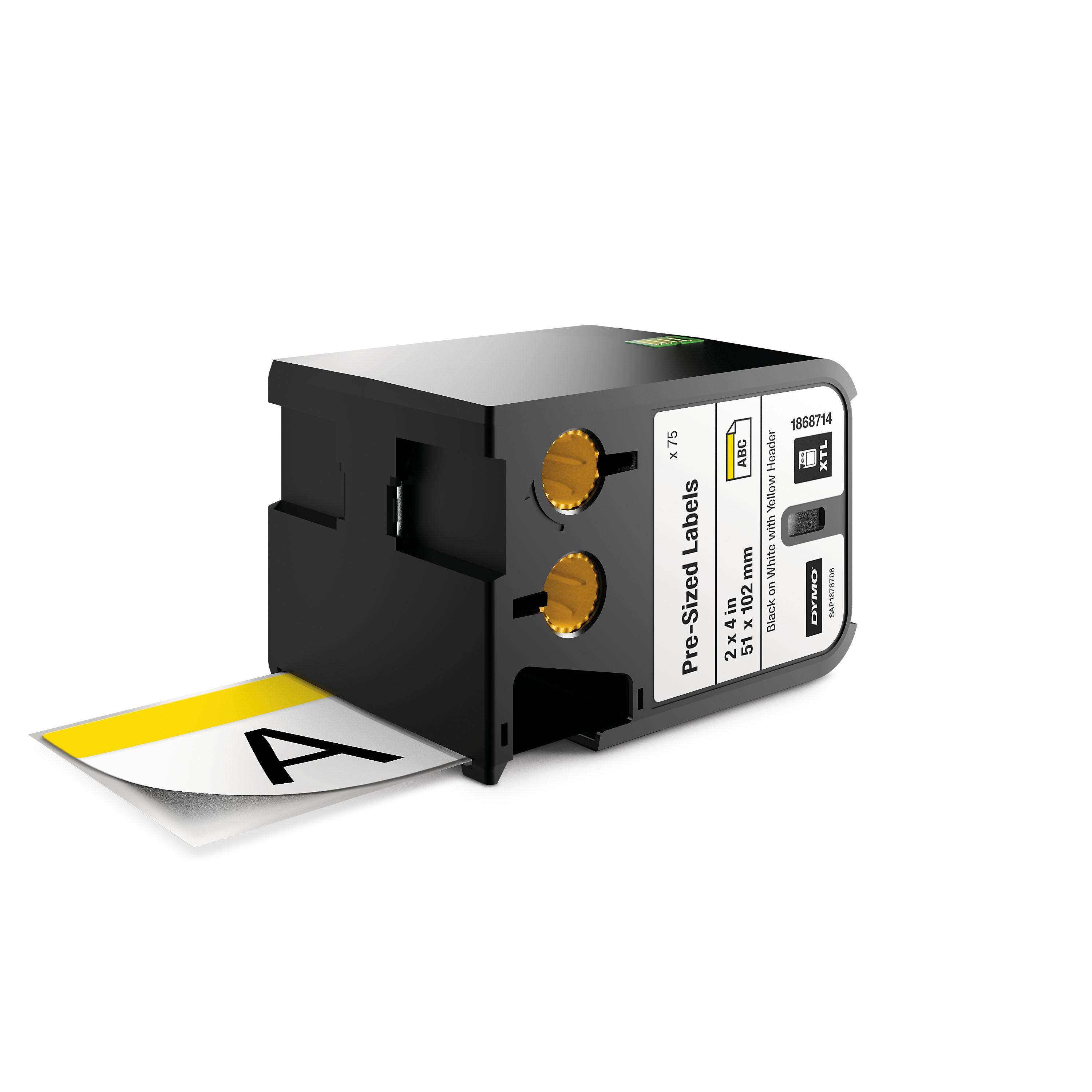 """DYMO XTL Pre-Sized Safety Labels - size 51 x 102mm - 1868714 (2"""" x 4"""") Yellow Track"""