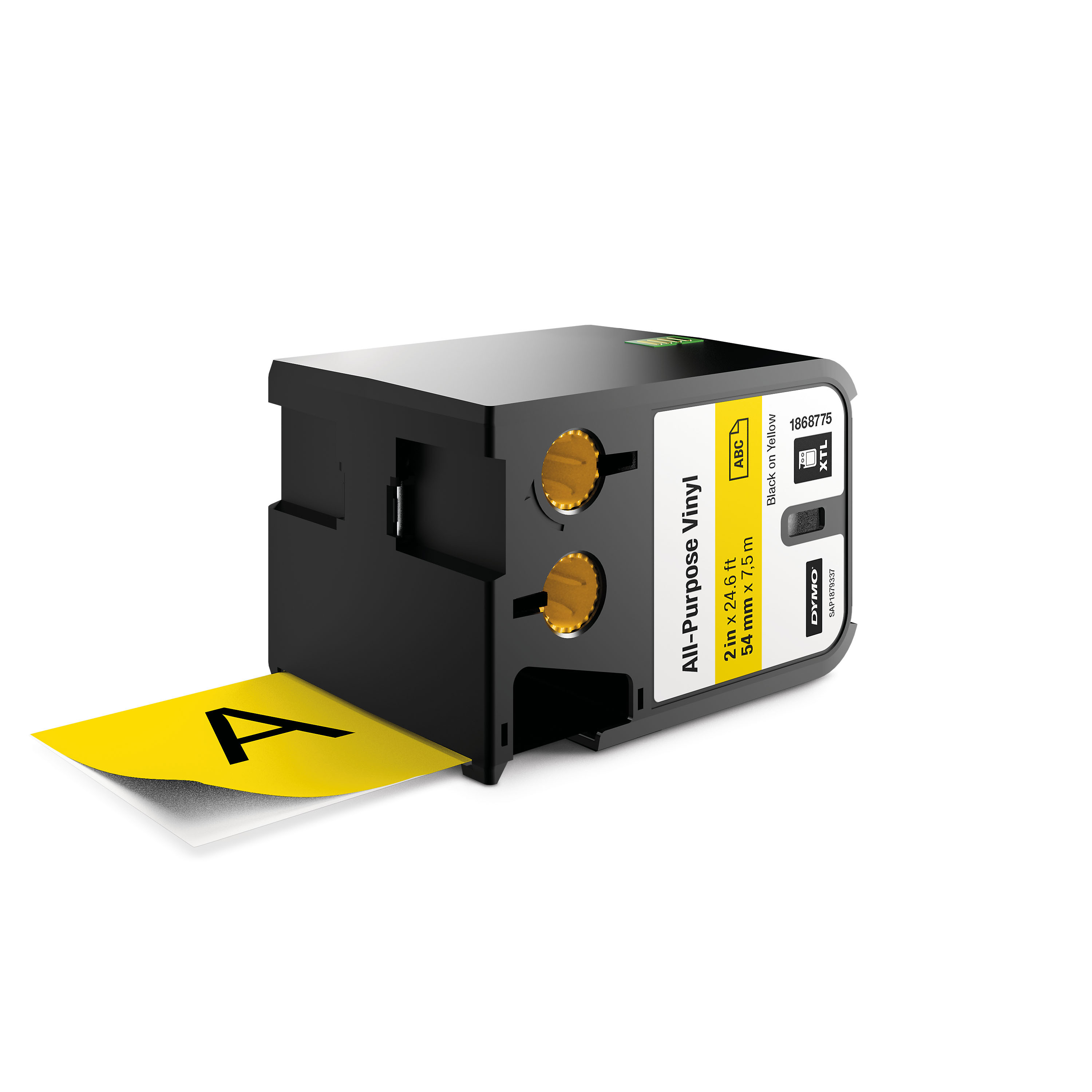DYMO XTL All Purpose Vinyl Labels 54mm Black on Yellow