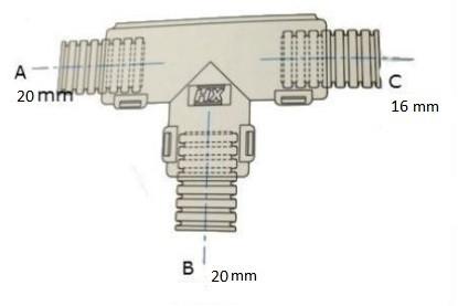 Conduit External Hinged T Piece 20 x 16 x 16mm