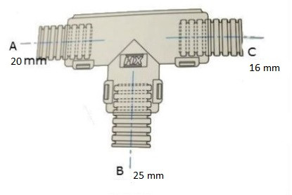 Conduit External Hinged T Piece 20 x 25 x 16mm