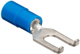Pre-Insulated Crimp Terminals - Blue FLANGED Spade/Fork to fit 5mm Stud