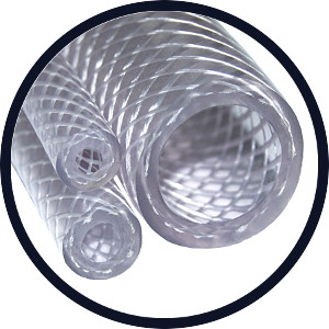 "Reinforced Braided PVC Hose size 1 1/2"" with - 38.0mm I/D x 48.0mm O/D x 5.0mm Wall"