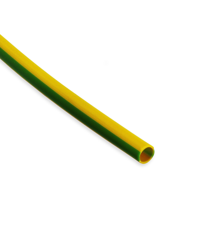 PVC Heat Shrink Tubing HPV Size 4.8mm I.D / 2.4mm I.D Green/Yellow