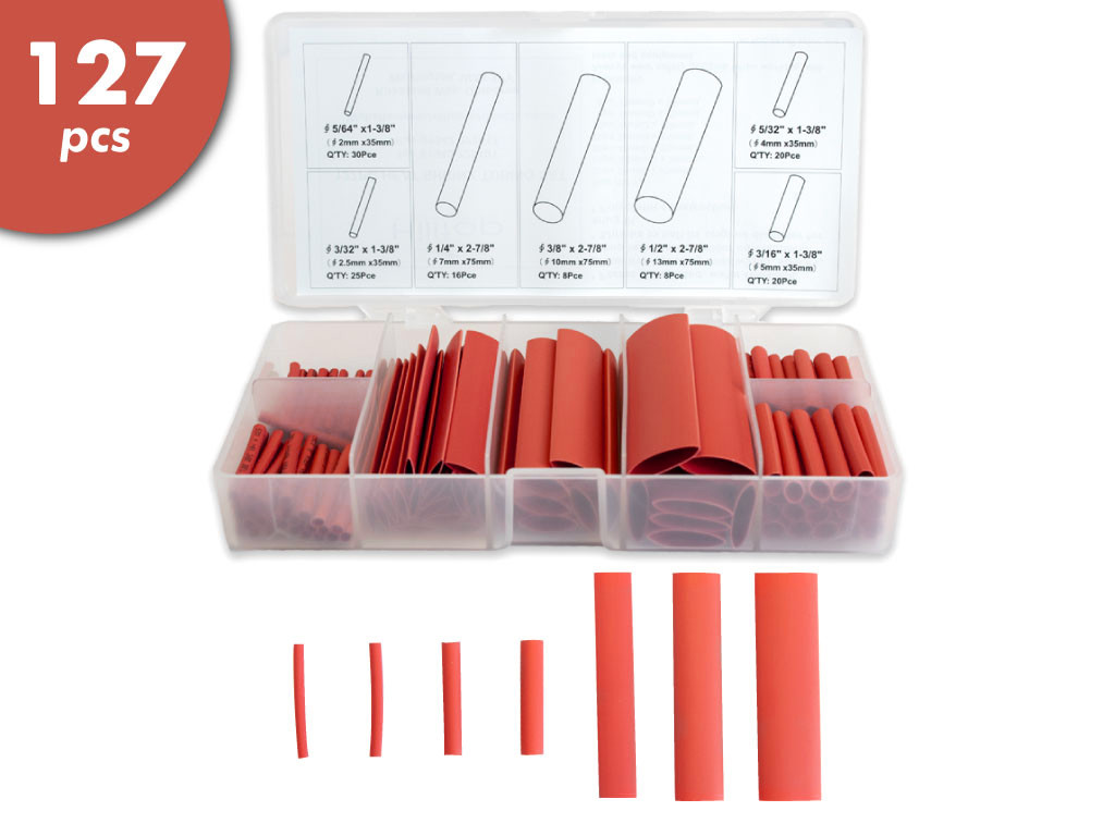 127 Pc Heat Shrink Kit - Red