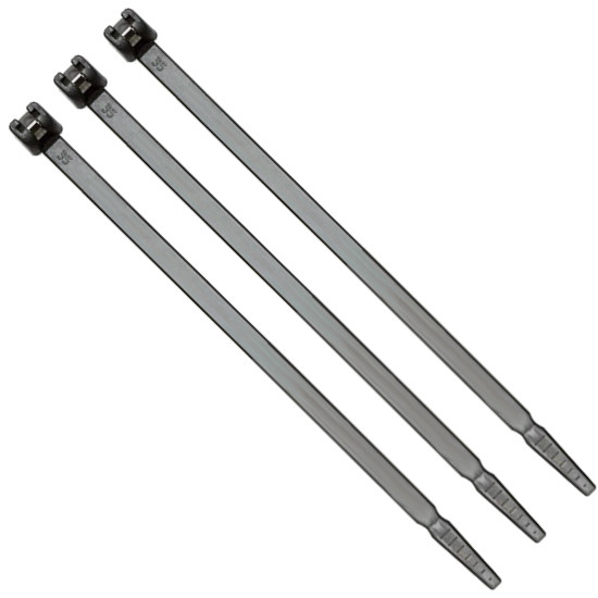 Metal Barbed Self Locking Flexible Cable Ties 340mm x 7.0mm Black