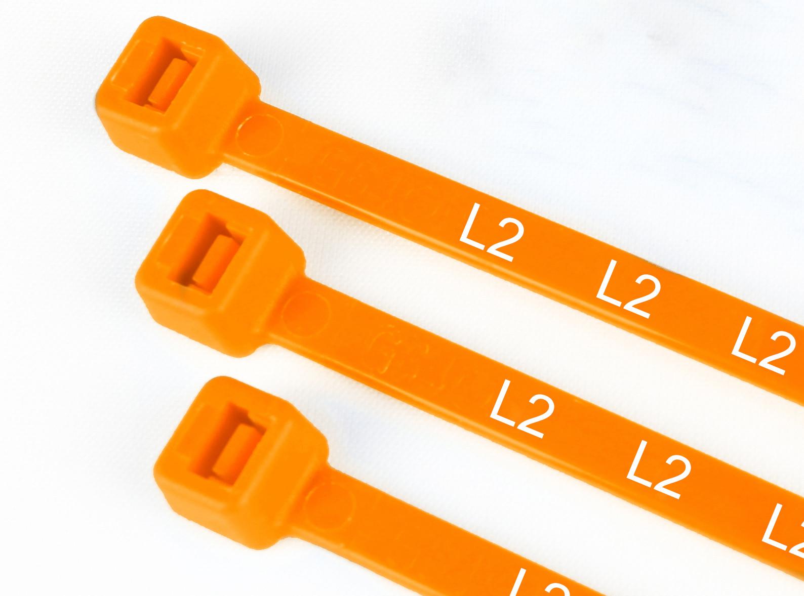 Printed Nylon Cable Ties Orange L2