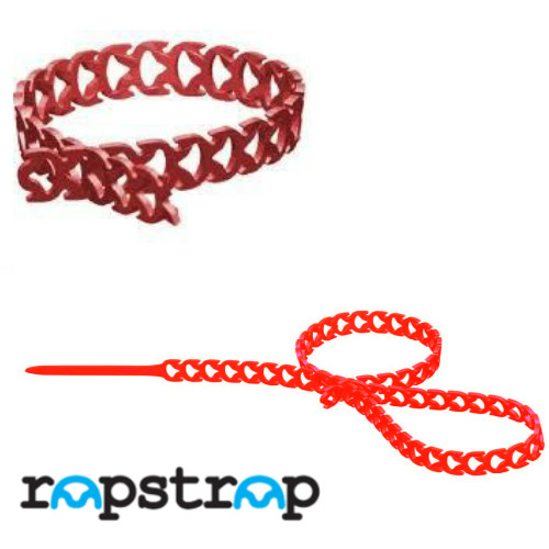 Rapstrap Waste-Saving Releasable Cable Tie - 300mm long x 10mm Wide Red