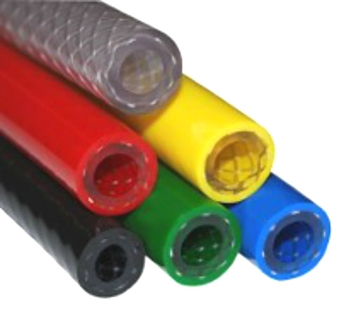 "Reinforced Braided PVC Hose size 1/4"" - 6.3mm I/D x 11.5mm O/D - Green"