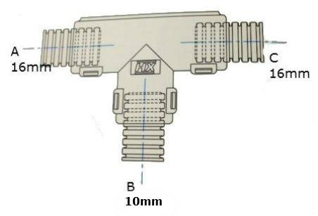 Conduit External Hinged T Piece 16 x 10 x 16mm