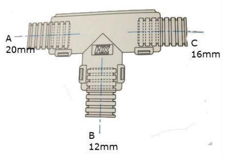 Conduit External Hinged T Piece 20 x 12 x 16mm