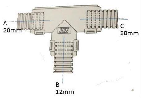 Conduit External Hinged T Piece 20 x 12 x 20mm