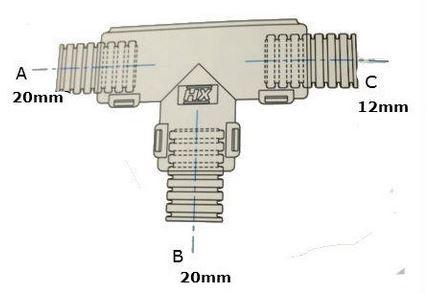 Conduit External Hinged T Piece 20 x 20 x 12mm