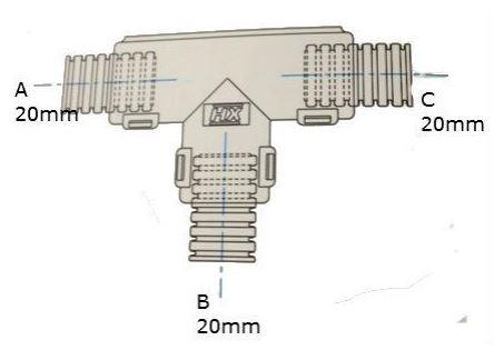 Conduit External Hinged T Piece 20 x 20 x 20mm