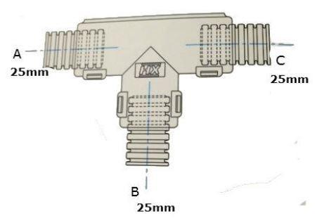 Conduit External Hinged T Piece 25 x 25 x 25mm