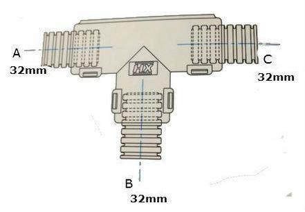 Conduit External Hinged T Piece 32 x 32 x 32mm