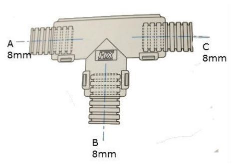Conduit External Hinged T Piece 8 x 8 x 8mm