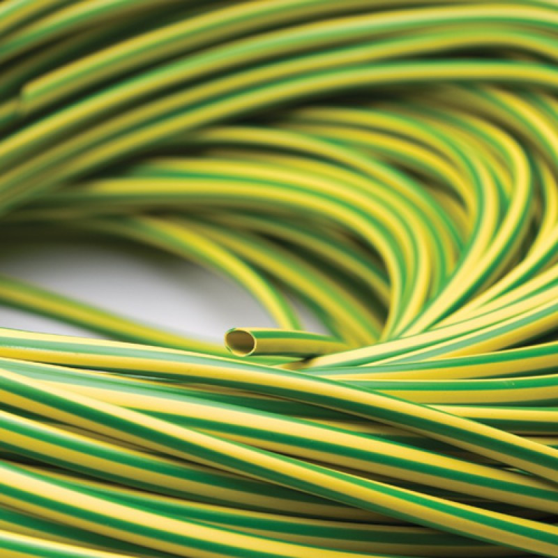 ZH8 Zero Halogen Flame Retardant Sleeving - Green/Yellow - 8mm I/D