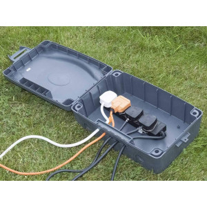 Weatherproof Enclosure Box by Masterplug with 4-gang 10m Extension Lead (WBX IP54)