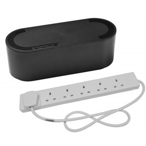 Cable Tidy Unit Large Black with 6 Way Socket Extension