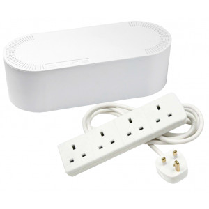 Cable Tidy Unit Small White with 4 Way Socket Extension
