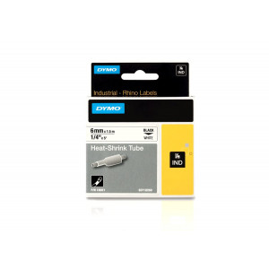 Rhino Heat Shrink Tube Tape 6mm WHITE with Black Lettering (18051)