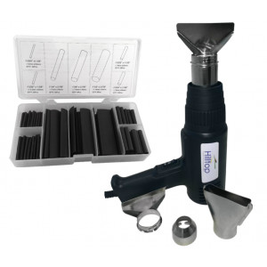 Commercial Heat Gun Kit + 127pc Black Heatshrink Pack