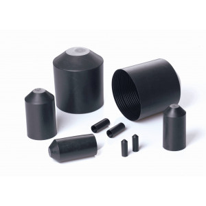 Heat Shrink End Cap size 20mm down to 6mm Diameter (22/ADH) Black