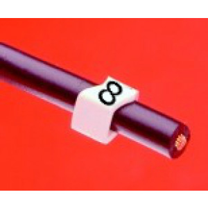 Open Style Clip On E Type Cable Marker size 20 Black on White