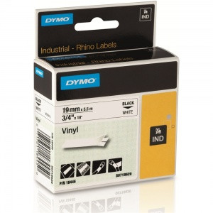 DYMO Rhino Vinyl Tape 19mm WHITE with Black Lettering 18445