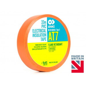 AT7 Fire-Retardant Orange PVC Electrical Insulation Tape - 19mm x 20 Mtr