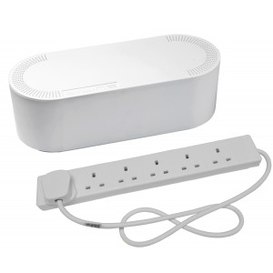 Cable Tidy Unit Large White with 6 Way Socket Extension