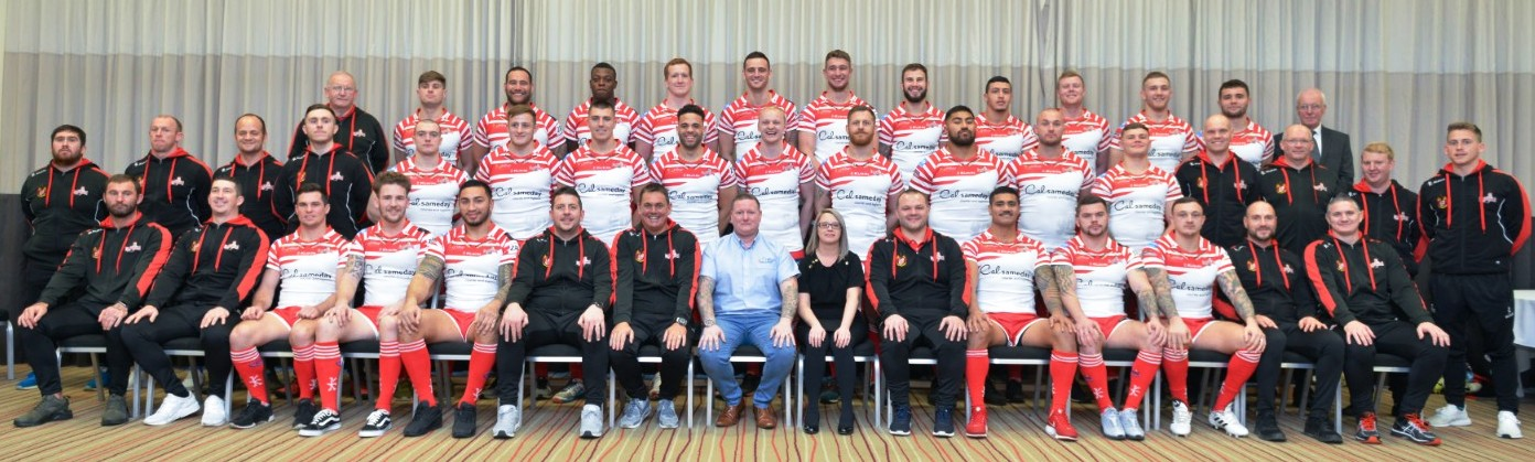 Hilltop Products' Steven Davies and Rebecca Davies with the Leigh Centurions